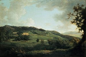 Chatsworth House - This late 18th-century oil painting by William Marlow emphasises the romantic aspect of Chatsworth's setting on the edge of the Peak District