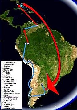 """Itinerario del primer viaje realizado en 1952 con Alberto Granado. Las líneas rojas corresponden a viajes en avión. La película """"Diarios de motocicleta"""" es la historia de este viaje."""