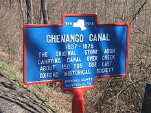 Chenango Canal stone arch carrying canal over creek at Oxford, NY