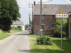 Chigny (Aisne) city limit sign.JPG