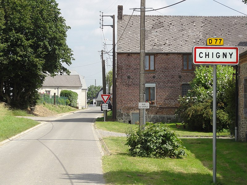 Chigny (Aisne) city limit sign