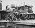 Chippers in a shipyard ( Shipbuilding. Three women working) - NARA - 522892.tif