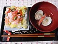 Chirashizushi and suimono by sakura chihaya on Hina matsuri.jpg