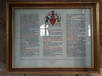 George Cholmondeley, 1st Marquess of Cholmondeley - Cholmondeley's listing in the family vault at St Oswald's Church, Malpas