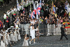 Chris Hoy - Hoy leading Team GB out as the team's flag carrier at the 2012 Summer Olympics opening ceremony