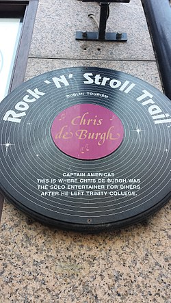 Photo of Chris de Burgh black plaque