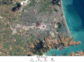 Christchurch from space, 4 March 2011, showing quake shaking strength, with key.png