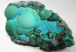 Botryoidal - Combination of botryoidal chrysocolla with smaller balls of sparkly malachite