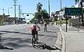CicLAvia 2010 riders with Interstate 5 sign.jpg