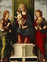 Enthroned Madonna and Child with two virgin martyrs