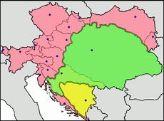 L'Autriche-Hongrie. En rouge l'empire d'Autriche; en jaune le royaume de Hongrie; en vert la Bosnie-Herzégovine.