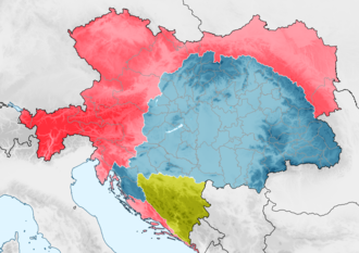 "Austro-Hungarian Compromise of 1867 - The division between lands to be administered from Vienna (deep pink) and lands to be administered from Budapest (yellow) under the 1867 dual monarchy Ausgleich"" agreement. From 1878, Bosnia-Herzegovina (green) was jointly administered."