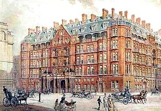 Claridge's - Drawing of the current version of Claridge's was published in 1897, the year before the reopening.