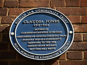 Claudia Jones - Claudia Jones blue plaque, Notting Hill