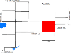 Location of Clay Township in Auglaize County