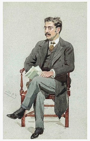 "Clement King Shorter - ""Three Editors"" Shorter as caricatured by Spy (Leslie Ward) in Vanity Fair, December 1894"