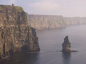 O'Brien's Tower - O'Briens Tower is just visible in this panoramic view of the Cliffs of Moher.