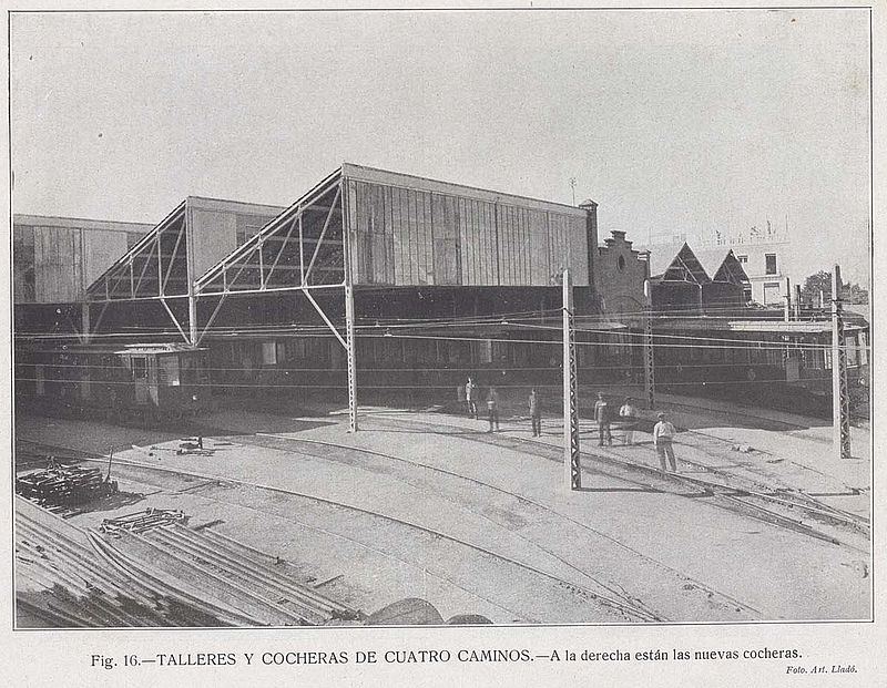 La imagen tiene un atributo ALT vacío; su nombre de archivo es 800px-Cocheras_de_Cuatro_Caminos%2C_1921.jpg