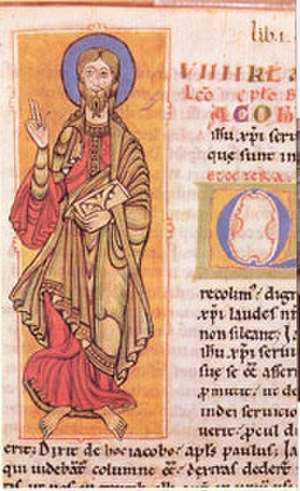 Codex Calixtinus - Detail from the Codex Calixtinus Folio 4r, showing Saint James the Great