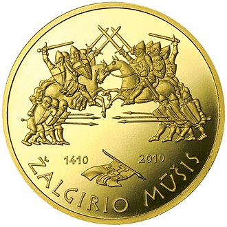 Commemorative coins of Lithuania - Image: Coin commemorating the 600th anniversary of the Žalgiris Battle Reversum
