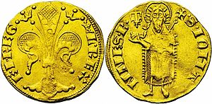 "Joanna I of Naples - Provençal coin of ""King Louis and Queen Joanna"" (L· REX- E· I· REG), struck between 1349 and 1362."