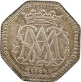 Coin showing the mongram of Marie Adélaïde of Savoy while Duchess of Burgundy, 1706.png