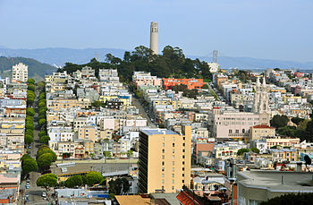 English: view of Coit Tower and Telegraph Hill...