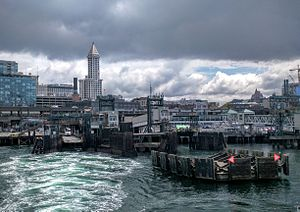 Colman Dock - Colman Dock from the Seattle–Bainbridge ferry, with Smith Tower in the background
