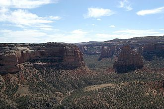 "Coors Classic - Colorado National Monument, in western Colorado, site of the ""Tour of the Moon"" road race stages"