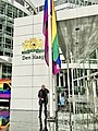 Coming-Out Day 2020 in The Hague - Rainbow flag raised at City Hall by alderman Bert van Alphen.jpg