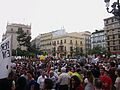 Concentració pel valencià, 9 de juny, a la plaça de la Mare de Déu, València, País Valencià.JPG