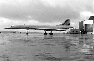 A left side view of an Air France Concorde sup...