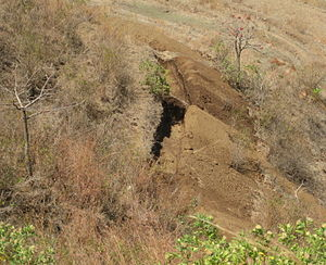 Contour trenching - A contour trenchline in India