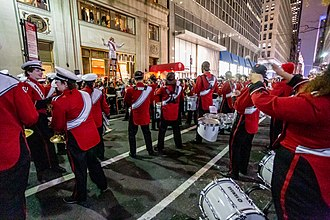 Cornell Club of New York - The Cornell Big Red Marching Band plays a concert in front of the Cornell Club at the finish of the 2018 Sy Katz Parade.