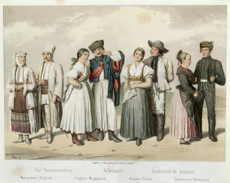Costumes of Peasants from Romania, Hungary, Slovakia and Germany