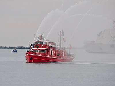 The is the oldest active fireboat in the world. Here it is escorting to Buffalo's Inner Harbor for its commissioning.