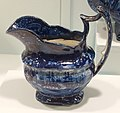 Creamer or pitcher, Enoch Wood & Sons, England, c. 1820-1840, porcelain with blue and white transfer pattern - Krannert Art Museum, UIUC - DSC06586.jpg