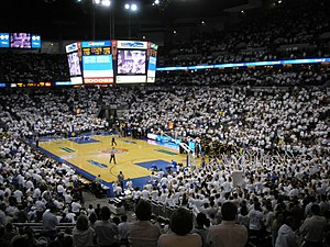 Creighton University - Image: Creighton Bluejays men's basketball playing (Qwest Center, Omaha, 2007)
