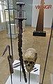 Cultural History (historisk) Museum Oslo. VIKINGR Norwegian Viking-Age Exhibition 14 Grave find Nordre Kjølen, Solør. Sword Spear Axe Arrows Skull (woman 155 cm 18-19 years old. Female warrior? Kvinnelig kriger?) Late 10th c. 4756.jpg