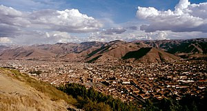 Wanakawri (Cusco) - A view of Cusco and the mountains southeast of it