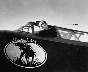 419 Tactical Fighter Training Squadron - W/C D.C. Hagerman, Commanding Officer of No. 419 Squadron, RCAF, in the cockpit of an Avro Lancaster B.X aircraft, England, 1944