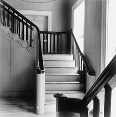 DETAIL OF SOUTH STAIR TO BALCONY IN THE ENTRANCE HALL OF THE CHURCH, TAKEN FROM NORTH STAIR - Moravian Church, Friedensfeld, St. Croix, VI HABS VI,1-FRIE,1-7.tif
