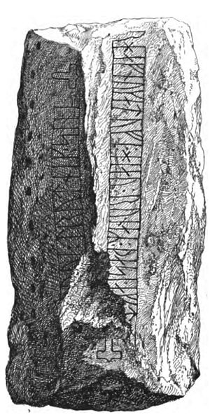 Laeborg Runestone - Drawing of DR 26 published in 1878.