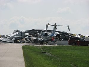 Tornado outbreak sequence of May 22–31, 2008 - EF2 damage at the Kearney Regional Airport on May 29, 2008