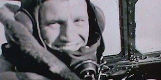 Phil Lamason - Lamason in the pilot's seat of the cockpit of a Sterling Bomber in 1942