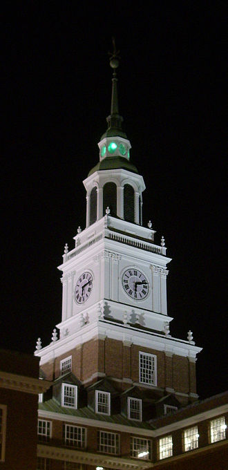 Board of Trustees of Dartmouth College - A green light shines from the tower of Baker Memorial Library when the trustees convene in Hanover.