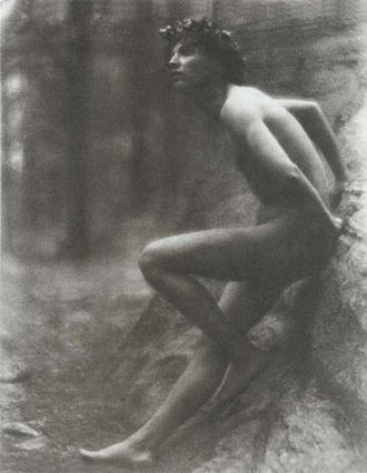 F. Holland Day - Youth Sitting on a Stone, by F. Holland Day (1907)
