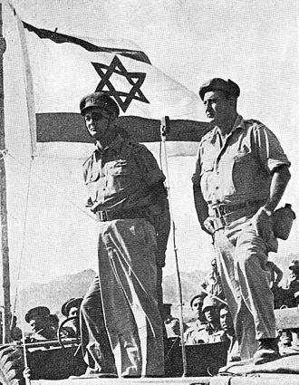 1956 in Israel - Ramatkal Moshe Dayan and Avraham Yoffe, commanding officers of IDF's 9th Oded Brigade at Sharm el-Sheikh after Operation Kadesh