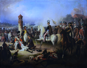Death of Cyprian Godebski at the Battle of Raszyn 1809 by January Suchodolski (1855).png