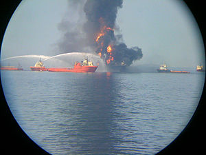 Fire on the offshore drilling rig Deepwater Ho...